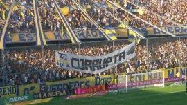 AFA Corrupta, una de las banderas que apareció en la cancha de Rosario Central