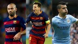 Javier Mascherano, Lionel Messi y Sergio Agüero, los candidatos argentinos a integrar la formación ideal de Europa