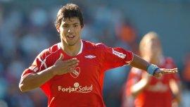 El Kun Agüero, con la camiseta de Independiente