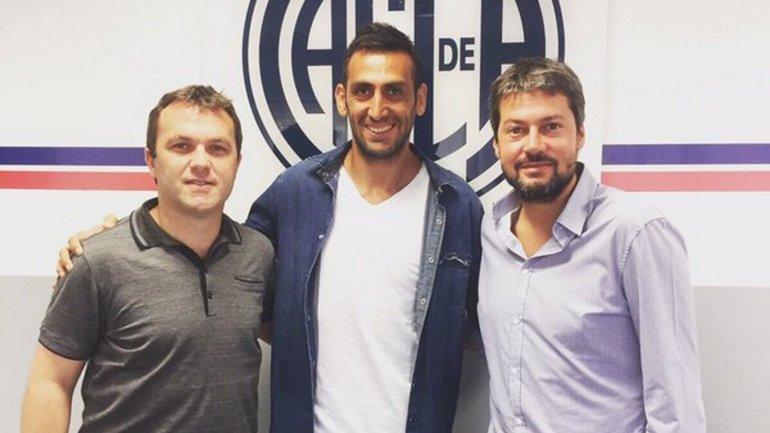 Bernardo Romeo, Sebastián Torrico y Matías Lammens, tras la renovación del contrato
