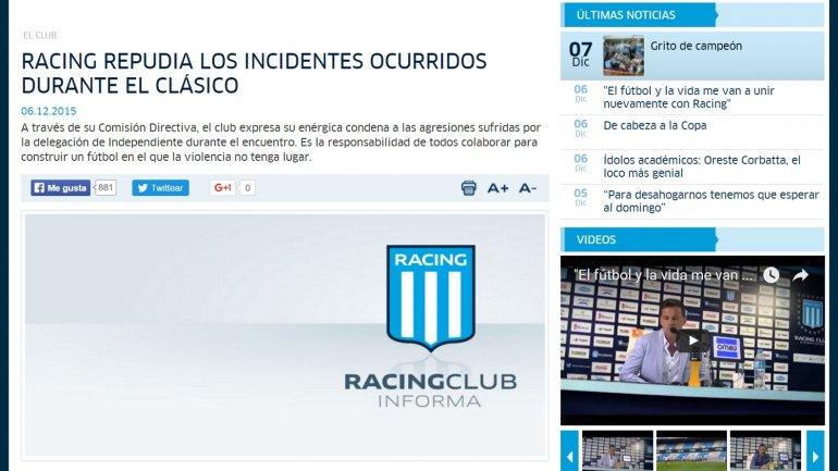 El comunicado de Racing repudiando las agresiones de la Barra a la delegación de Independiente