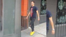 Leonardo Jara, camino a la revisión médica con Boca