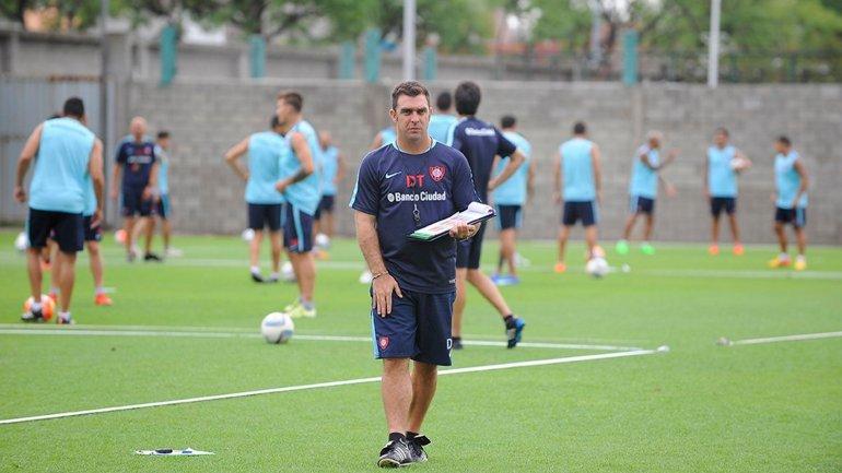 Pablo Guede en la práctica de San Lorenzo
