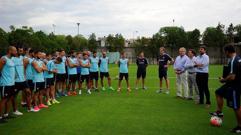 Matías Lammens presentó a Pablo Guede en el entrenamiento de San Lorenzo