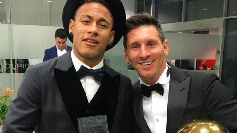 Neymar y Lionel Messi, juntos en la gala del Balón de Oro