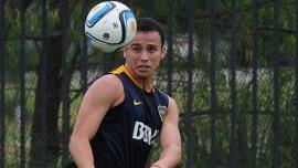 Leo Jara en la práctica de Boca