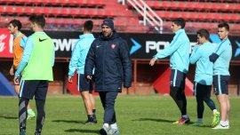 Pablo Guede, en el entrenamiento de San Lorenzo antes de jugar ante Lanús